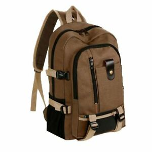 Men Backpack Travel Rucksack Multifunction Bucket Canvas College Students School