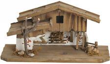 Krippe Holz Weihnachtskrippe Stall alpenländisch braun / weiß 31x11x4 cm