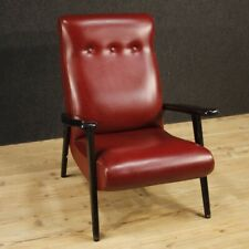 Fauteuil Meuble Chaise en Bois Et Fausse Cuir Rouge Salon Design Vintage 900