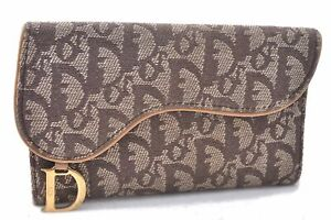 Authentic Christian Dior Trotter Saddle Wallet Canvas Leather Brown C2989