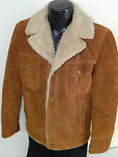 Vtg 70s JCPenney HEAVY SUEDE Leather RANCHER Coat SHERPA LINED TRUCKER Jacket 38