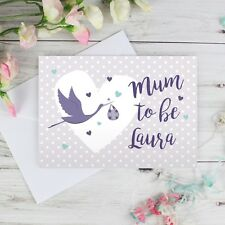 Personalised Mum to Be Stork Card, Baby Shower, Expecting Baby, Pregnant