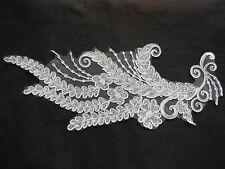 A Large piece Off White bridal wedding sequins lace Applique/ floral lace motif