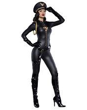 Military Captain Officer Black Catsuit Bodysuit Adult Womens Halloween Costume M
