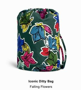 Vera Bradley Iconic Ditty Bag FALLING FLOWERS For  Travel Beach Baby NWT SEALED