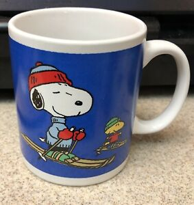 Snoopy Woodstock Coffee Ceramic Blue Ski Mug Peanuts United Feature Syndicate