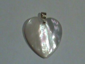 Heart Mother Of Pearl Pendant 14kt Bale 27x23 MM