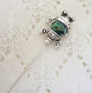 Green Frog Crystal Bead HatPin  ~Lapel Hat Brooch Stick Pin - approx. 76mm