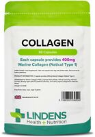 Collagen Marine 400mg 90 Capsules Healthy Skin Anti Ageing Tissue Joints Lindens