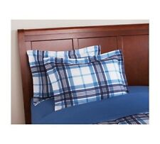 Gingham Plaid Bedding Set W Bag Blue Flannel Comforter Queen Size Bed Covers 3 P