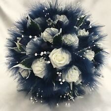 BRIDES POSY BOUQUET, IVORY NAVY BLUE ROSES, MARABOU FEATHERS, ARTIFICIAL FLOWERS
