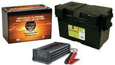 VMAX MR127 12V 100Ah AGM SLA Marine Battery +Battery Box+ VMAX 15A SMART CHARGER
