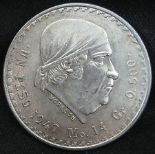 1947-1948 50% Silver Mexican Un Peso - OLD JOSE MARIA MORELOS SILVER ROUND COIN