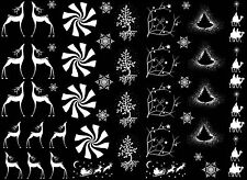 "White Christmas Elegance Deer 5""X7"" Card Fused Glass Ceramic Decals 14CC403"