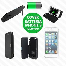 BATTERIA ESTERNA IPHONE 5 5S 5C 4200 MAH FLIP COVER RICARICA POWERBANK  LED USB