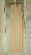 Reggio size 8 butter color long dress high front slit back crystal buttons lined