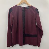 The Limited Womens Size Small Long Sleeve Colorblock Blouse Purple Zipper 539