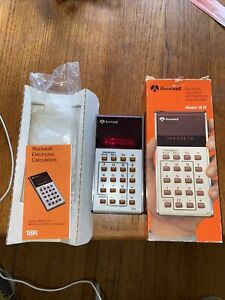 Vintage 1975 Rockwell Electronic Calculator Model 18R in BOX has Booklet