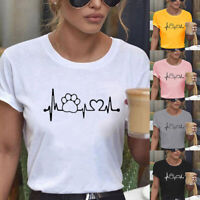 Summer Women Short Sleeve T-Shirt Bear Paw Print Lady Casual O-Neck Tops Blouse