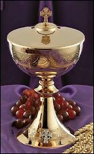 """9 1/4"""" High Etched Celtic Cross Ciborium with Cover NEW (JC717)"""