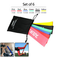 Set of 6 Elastic Resistance Loop Bands Yoga Exercise Gym Fitness Workout Stretch