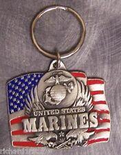 Military Key Ring U S Marine Corps Emblem and Flag NEW