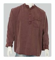 Grandad Cowboy Heavy-Cotton Timeless Collarless Shirts 4-Button opening S to 2XL