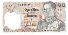 Thailand  10 Baht  ND. 1980  P 87 Series 9 D Sign. # 68 Uncirculated Banknote