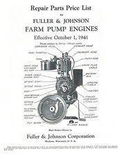 Fuller Amp Johnson Farm Pump Engines Book Motor Parts List Operating Instructions
