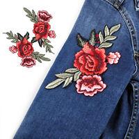 2stk Rose AufnAher Gestickt Blume nAhen Patch Erwachsene Kleidung jeans Deko