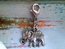 Silver Plated Hand Made Clip on Charm - ELEPHANT AFRICAN INDIAN SAFARI - CH122