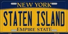 STATEN ISLAND NEW YORK STATE BACKGROUND METAL NOVELTY LICENSE PLATE TAG
