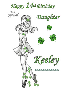 Irish Dancing personalised A5 birthday card - any NAME AGE RELATION
