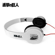 Anime Attack on Titan White Headphone Headset Earphone Logo Emblem New in Box