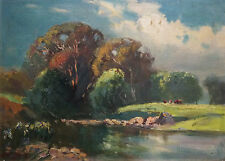 WILLIAM DELAFIELD COOK (1861-1931) RARE oil Heidelberg Victoria 1900 Sydney Long