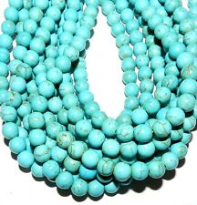 GR610f5 Blue Turquoise 8mm Round Magnesite Gemstone Beads 16""