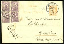 ROMANIA 4x uprated postal stationery pc 1926 Michel P72 > Austria