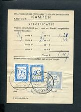1958 port-specificatiebewijs met mengfrankering P 76 + 99 + 104; DS KAMPEN