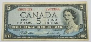 CANADA $5 BANKNOTE FROM 1954 CIRCULATED NO RESERVE