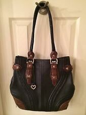 Brighton Classic Black Pebble Grain Leather & Brown Leather Trim Handbag Purse