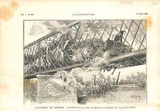 Déraillement du train de Béziers à Cessenon sur le pont de l'Orb GRAVURE 1892