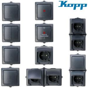 Kopp Nautic IP44 Anthrazit Schalter Steckdose Taster Feuchtraum Aufputz
