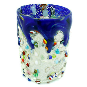 Murano Glass Shot Liquor Glass Tumbler Silver Blue Hand Made Millefiori 2.5oz