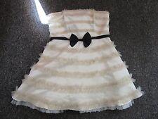 BNWT River Island Dress Size 18 £50 Cream Ruffle Wedding Prom Black Bow Boned