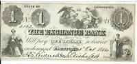 $1 1854 Connecticut Exchange Bank of Hartford Obsolete Choice AU Plate D # 2162
