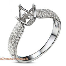 5MM Round Cut Solid 18K White Gold Natural Diamond Semi Mount Ring Setting