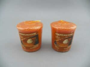 Pair(2) VTG AMERICAN HOME by Yankee Candle Ginger Pumpkin Pie Votive Candles NOS