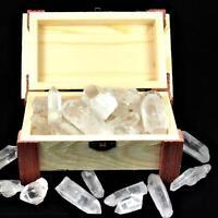 300 g Bergkristall Spitzen 20 - 50 mm in großer Schatzkiste Schatztruhe aus Holz
