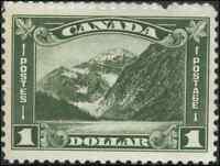Canada #177 mint VF OG NH 1930 Arch/Leaf $1 dark olive green Mt. Edith Cavell,AB