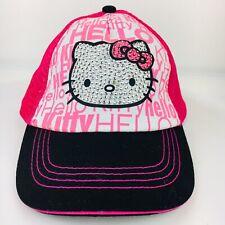 Sanrio Hello Kitty Girls Cap Hat Hot Pink Bling Glitter Kids SnapBack Adjustable